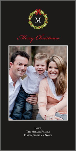 Shutterfly Charming Holly Wreath Christmas 4x8 photo card